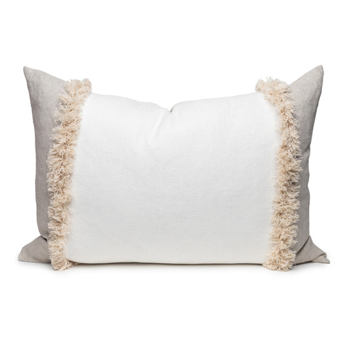 Muse Linen Lumbar Fringe Pillow in Blanc- 2636- Front View