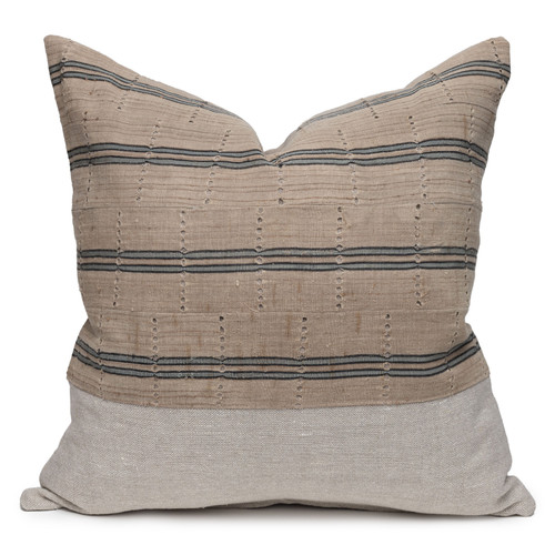 Bristol Blue Luxe Vintage Pillow with African Aso Oke Textiles and 100% Eco-friendly Topanga linen in Natural- 22- Front View