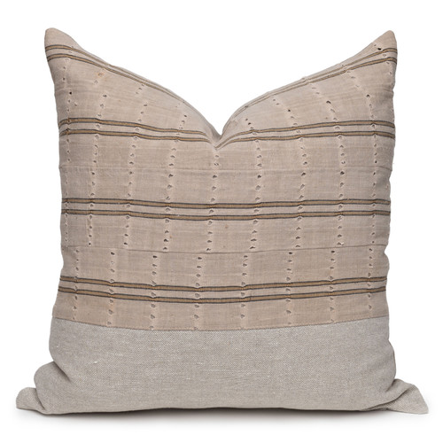Bristol Gold Luxe Vintage Pillow with African Aso Oke Textiles and 100% Eco-friendly Topanga linen in Natural- 22- Front View