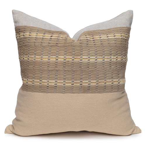 Tate Luxe Vintage Pillow with African Aso Oke Textiles-22- Front View