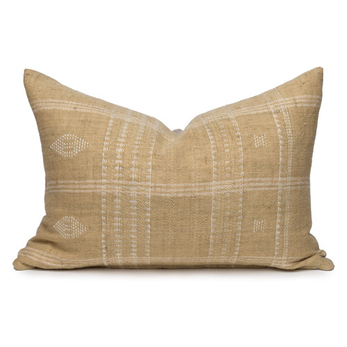 Teri Lumbar Pillow in Wheat, Hand Loomed Indian Wool-1622- Front View