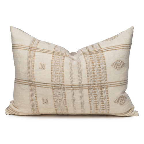 Teri Lumbar Pillow in Creme & Ivory, Hand Loomed Indian Wool-1622- Front View