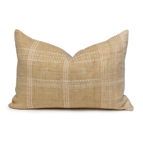 Myra Lumbar Pillow in Wheat & Ivory, Hand Loomed Indian Wool-1420- Front View