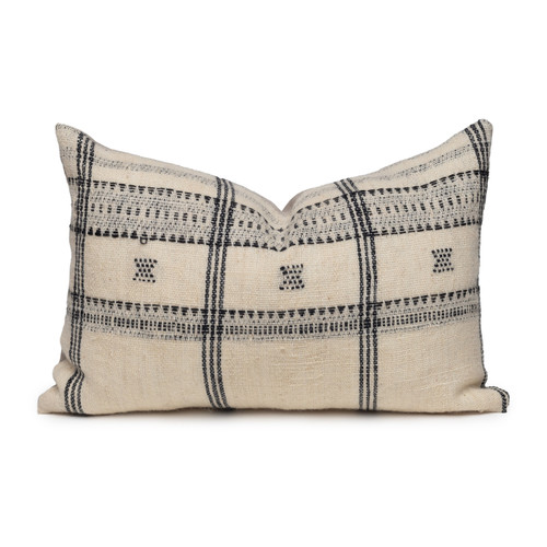 Knox Lumbar Pillow in Black & Ivory, Hand Loomed Indian Wool-1420- Front View