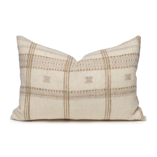 Knox Lumbar Pillow in Creme & Ivory, Hand Loomed Indian Wool-1420- Front View