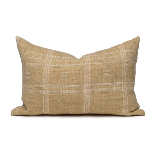 Knox Lumbar Pillow in Wheat & Ivory, Hand Loomed Indian Wool-1420- Front View