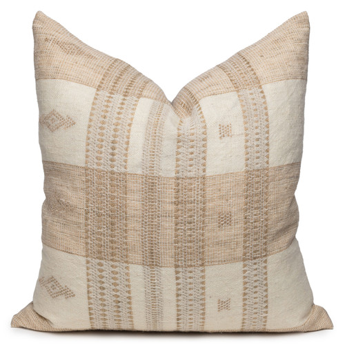 North Handspun Indian Wool Ivory and Creme 24 inch Pillow - Front