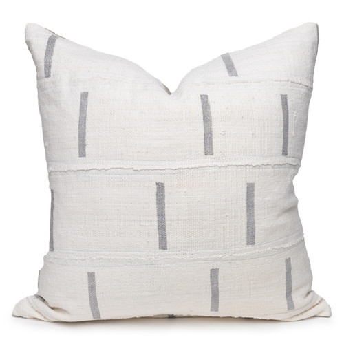 """Clay White and Gray Mud Cloth Pillow - 20""""- Front"""