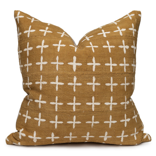 """Karat Pillow, Wheat and Ivory Mud Cloth Pillow - 22""""- Front"""