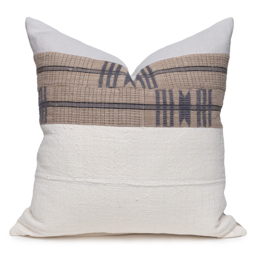 Roman Luxe Vintage Pillow with African Aso Oke Textiles and 100% Eco-friendly Topanga linen in Natural- 22- Front View