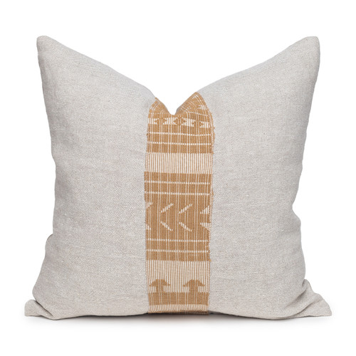 Akili Natural Linen and Aso Oke Pillow - 20- Front View