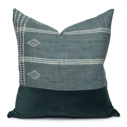 Beck Handspun Indian Wool in Mint & Tourmaline Velvet Pillow- 22- Front View