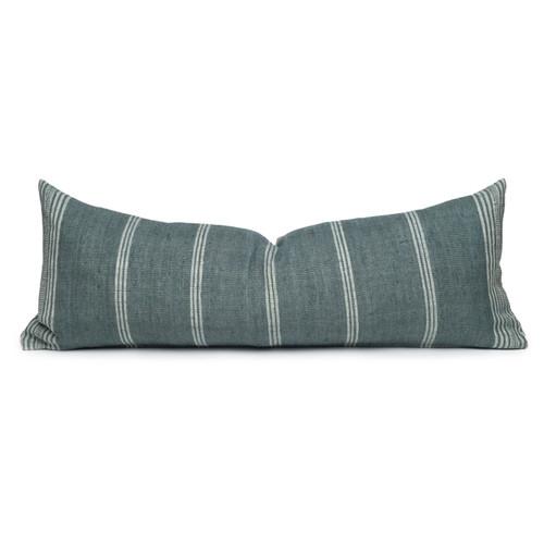 Chester Handspun Indian Wool Mint stripe 14 x 36 inch Lumbar Pillow - Front