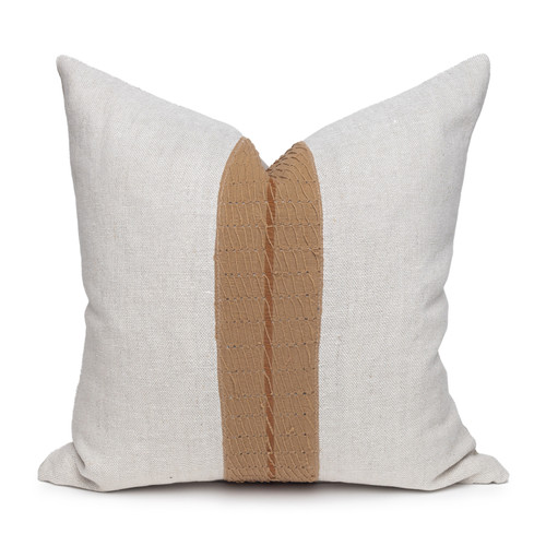 Davina Natural Linen and Aso Oke Pillow - 20- Front View