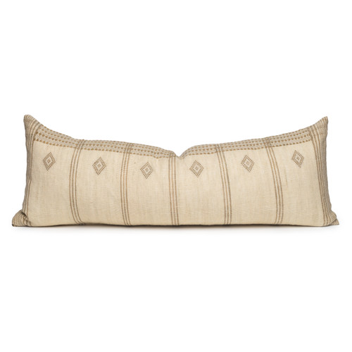 Dillon Lumbar Hand woven wool Pillow in Ivory & Sage- 1436- Front view
