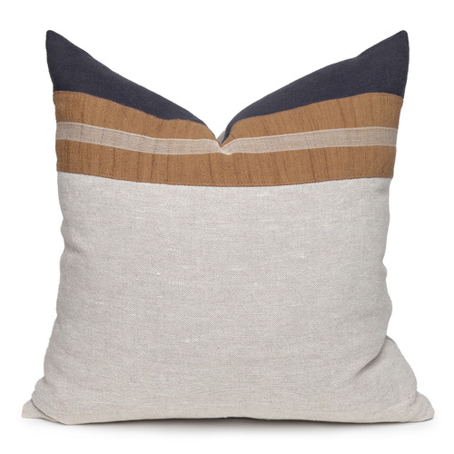 Fawn Natural Linen and Aso Oke Pillow - 22- Front View