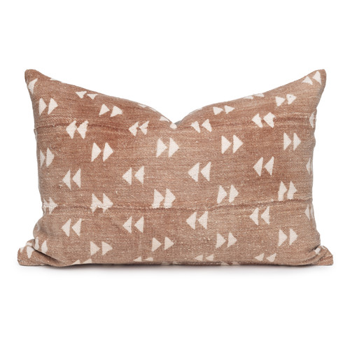 """Gill Lumbar Pillow, Rust and Ivory Mud Cloth Pillow - 16 x 22""""- Front"""