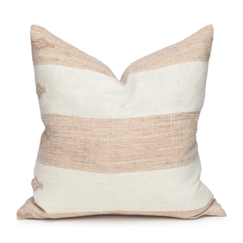 Joey Indian Wool Copper  and Creme Stripe Pillow - 20- Front View