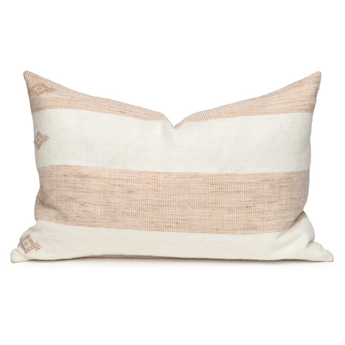 Joey Indian Wool Copper  and Creme Stripe Lumbar Pillow - 1826- Front View