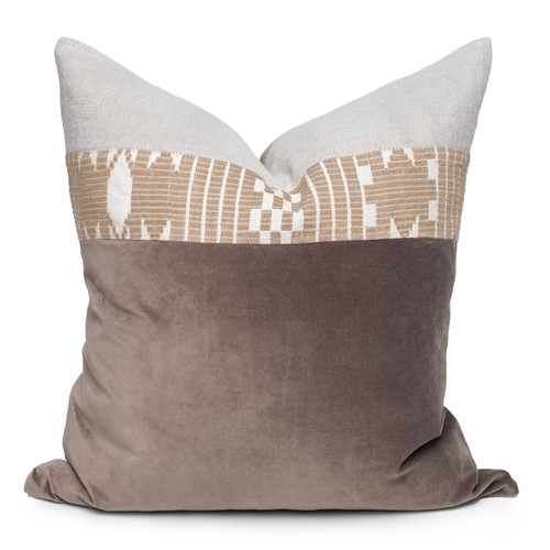 Kelby Luxe Vintage Pillow with African Aso Oke Textiles and 100% Eco-friendly Topanga linen in Natural & Cotton Velvet- 22- Front View