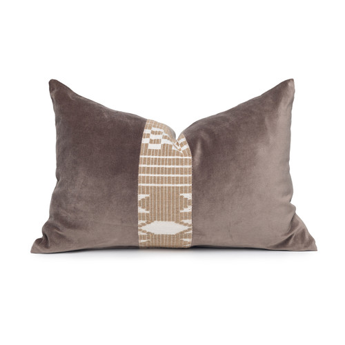 Kelby Luxe Vintage Pillow with African Aso Oke Textiles and 100% Eco-friendly Topanga linen in Natural & Cotton Velvet- 1420- Front View