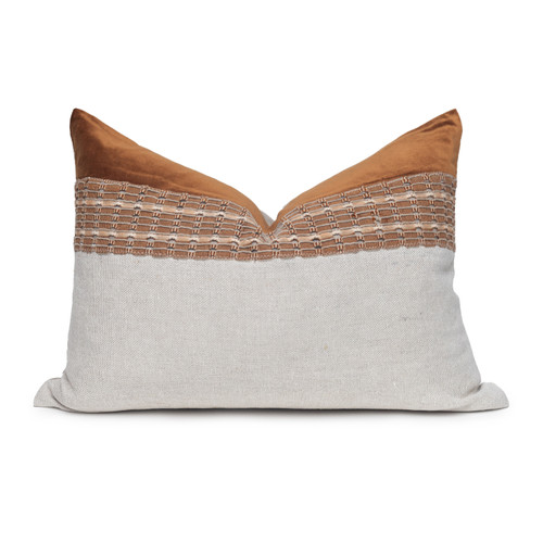 Kona Luxe Vintage Pillow with African Aso Oke Textiles and 100% Eco-friendly Topanga linen in Natural & Cotton Velvet- 1622- Front View