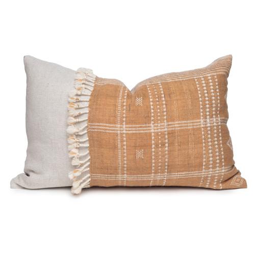 Morgan Handspun Indian Wool Copper and Ivory Stripe Lumbar Pillow- 18 x 26 - Front