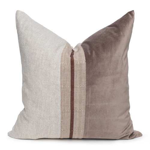 Neve Luxe Vintage Pillow with African Aso Oke Textiles and 100% Eco-friendly Topanga linen in Natural & Cotton Velvet- 22- Front View