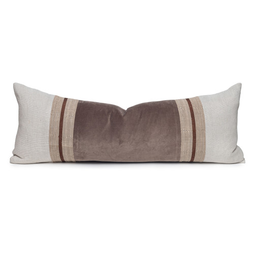 Neve Natural Linen and Aso Oke Lumbar Pillow with Velvet in Moonstone- 14 x 36- Front View