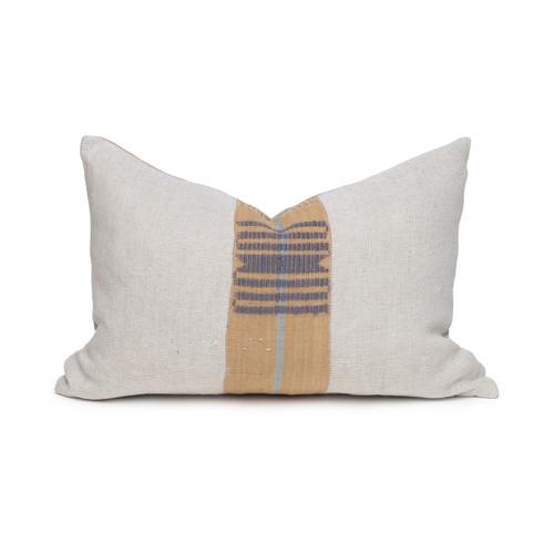Owen Natural Linen and Aso Oke Lumbar Pillow - 1420- Front View
