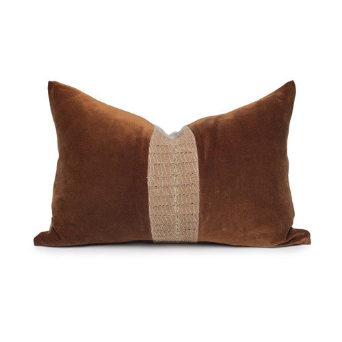 Scarlet Luxe Vintage Pillow with African Aso Oke Textiles and 100% Eco-friendly Topanga linen in Natural & Cotton Velvet- 1420- Front View