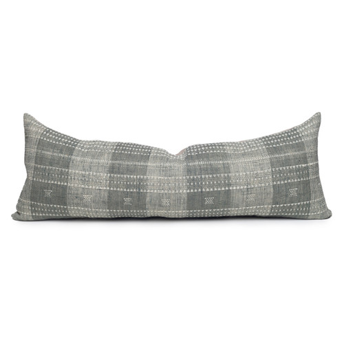 Teri Gray and Ivory Pinstripe Hand Loomed Indian Wool Pillow -14 x 36- Front