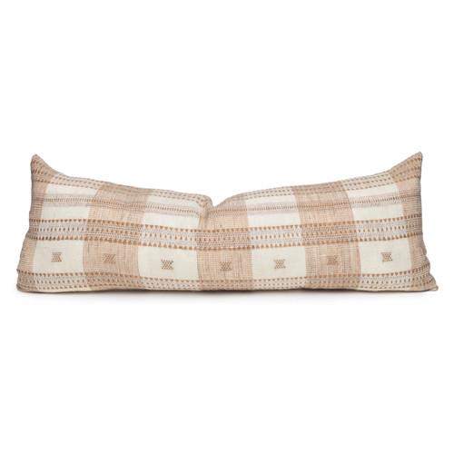 Teri Copper Pinstripe Hand Loomed Indian Wool Pillow -14 x 36- Front