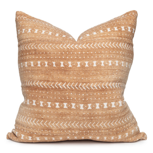 Trainer Pillow in Printed Taupe cotton mud cloth- 22 x 22- front view