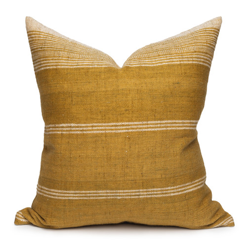 Trevor Handspun Indian Wool Ivory and Gold Pillow- 22- Front View
