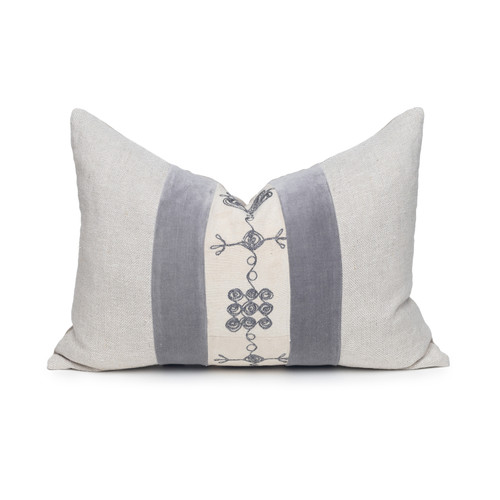 Ula Luxe Vintage Lumbar Pillow with African Aso Oke Textiles and 100% Eco-friendly Topanga linen in Natural & Cotton Velvet- 1420- Front View