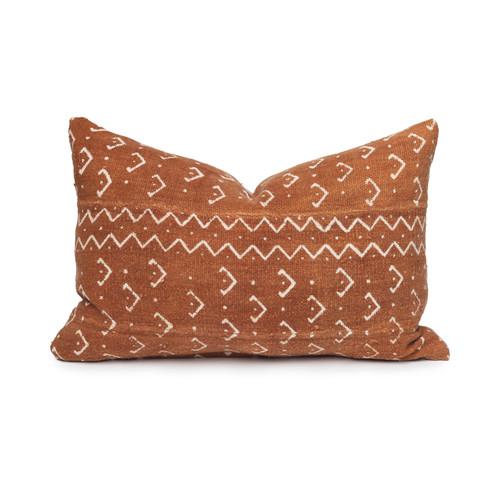 Vortex Lumbar Printed Cotton Mud Cloth Pillow- 14 x 20- Front view