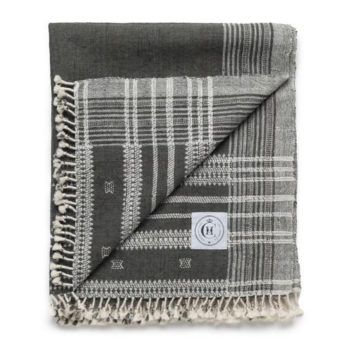 Hand Loomed Indian Spun Wool- Dark Grey