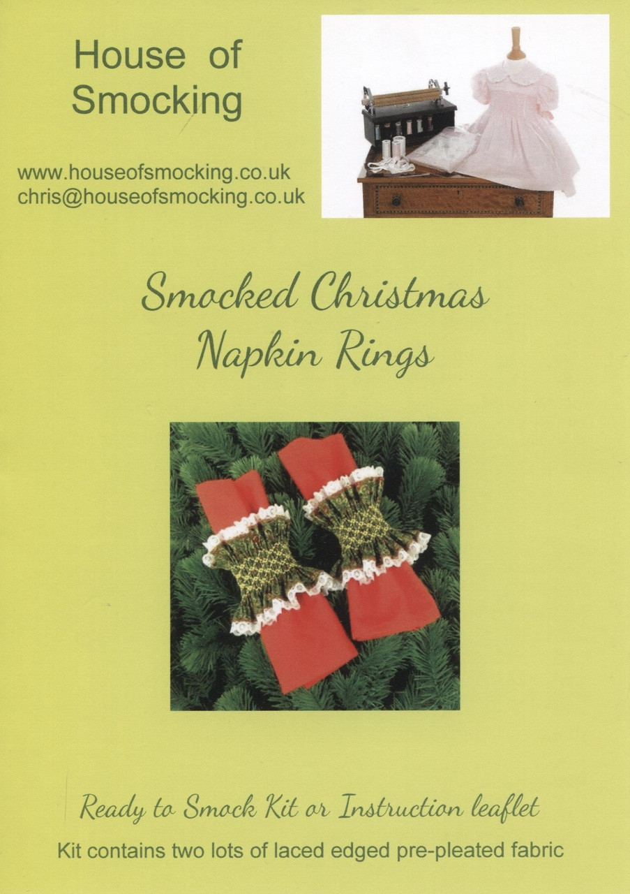 Smocked Christmas Napkin Rings Instruction Leaflet with step by step instructions, smocking design and helpful tips