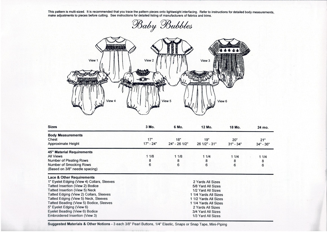 Baby Bubble smocking pattern by Chery Williams, Multi sized pattern Recommended to trace the pattern pieces, Refer to instructions for detailed body measurements, Adjust pattern pieces before cutting, Sizes 3 months to 24 months, Collars not shown on cutting layout Please use the grain arrow on the collar pattern piece to place on the fabric