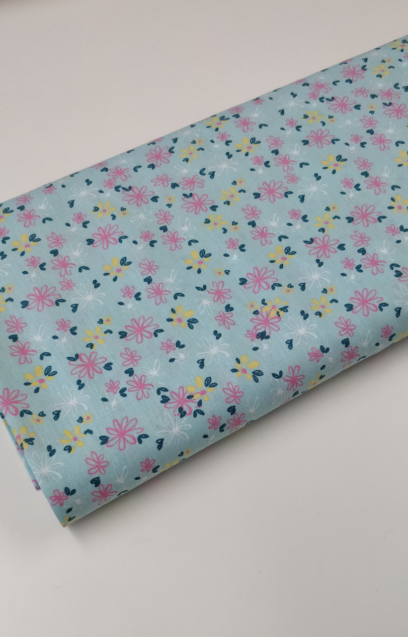100% cotton poplin in 3 colours with floral design 145 cm wide
