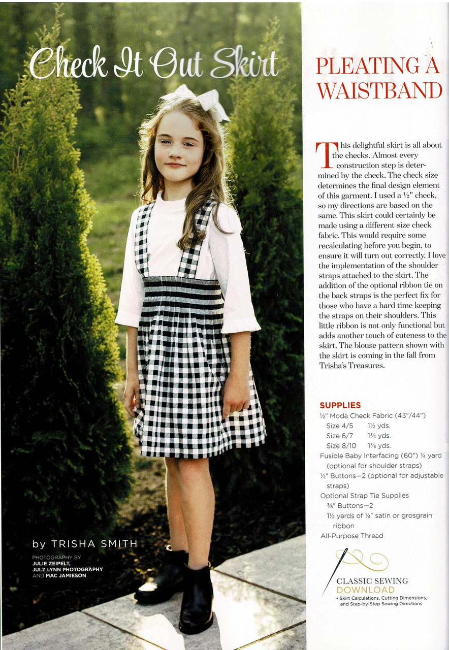 Girl's counterchange skirt from Classic sewing magazine Autumn 2020