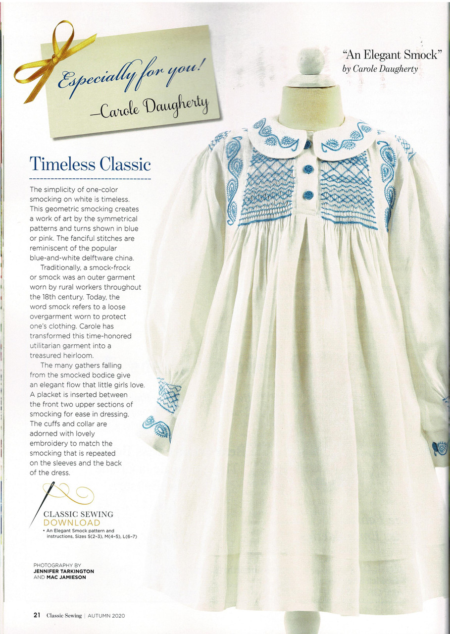 Girl's smock from Classic sewing magazine Autumn 2020