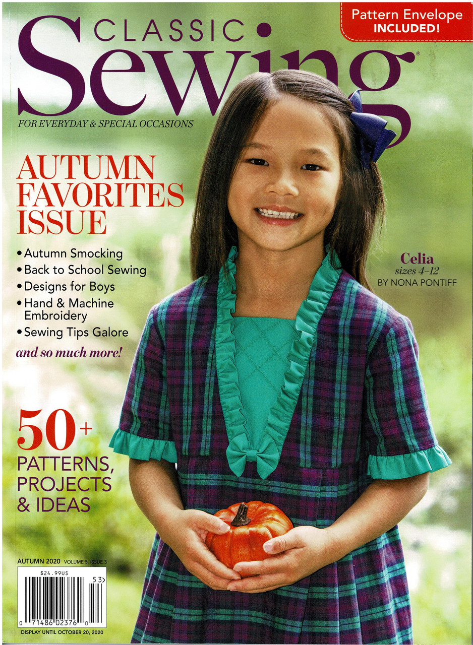 Classic Sewing magazine Autumn 2020, Projects include, Bishop dresses, Circular skirt dress pattern, Counterchange skirt, Lace blouse Smocking designs, Great Applique ideas, Machine embroidery,  and so much more, another great read and inspirational edition