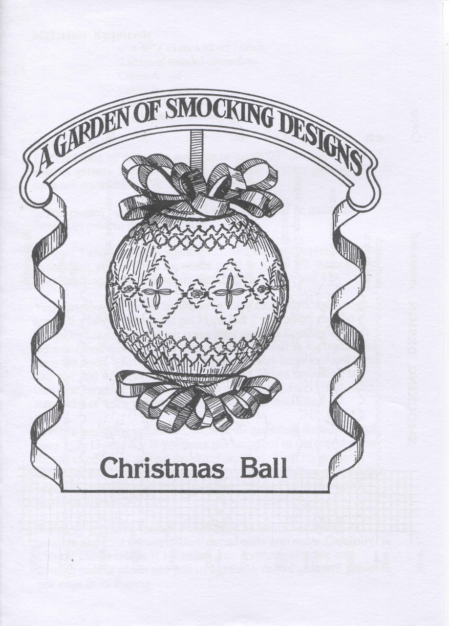 Downloadable - Smocked Christmas Ball pattern by Garden of Smocking, Suitable for a 7.5 cm styrofoam ball