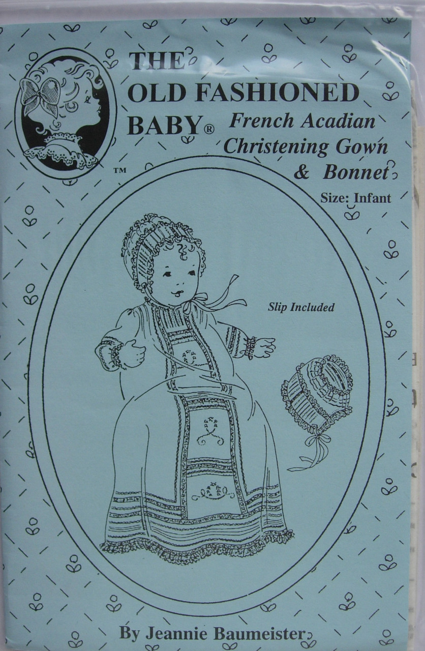 This Old Fashioned Baby pattern by Jeannie Baumeister is for a French Arcadian Christening Gown & Bonnet, This is characteristic of the style worn in Louisiana in the early 1900's.  This pattern fits and infant 7-18lbs. Full instructions are given for the gown, bonnet and slip. This gown in Satin batiste would be stunning