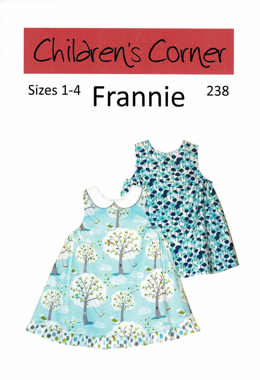 Frannie is a sleeveless, lined dress that has one button in the back, A Peter Pan collar is optional. The extra fullness at underarm is pulled up with ties in a casing for an easy adjustable fit. Sizes 1-4