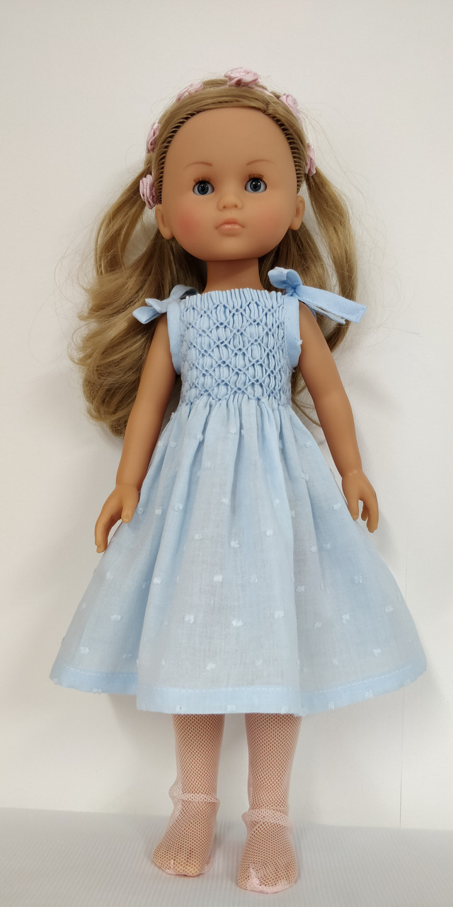 """Downloadable pattern for, Smocked sundress with tie straps for the , Little Darling and Les Cheries dolls, Suitable for a Dianna Effner 13"""" Little Darling doll Will also be available as kit"""