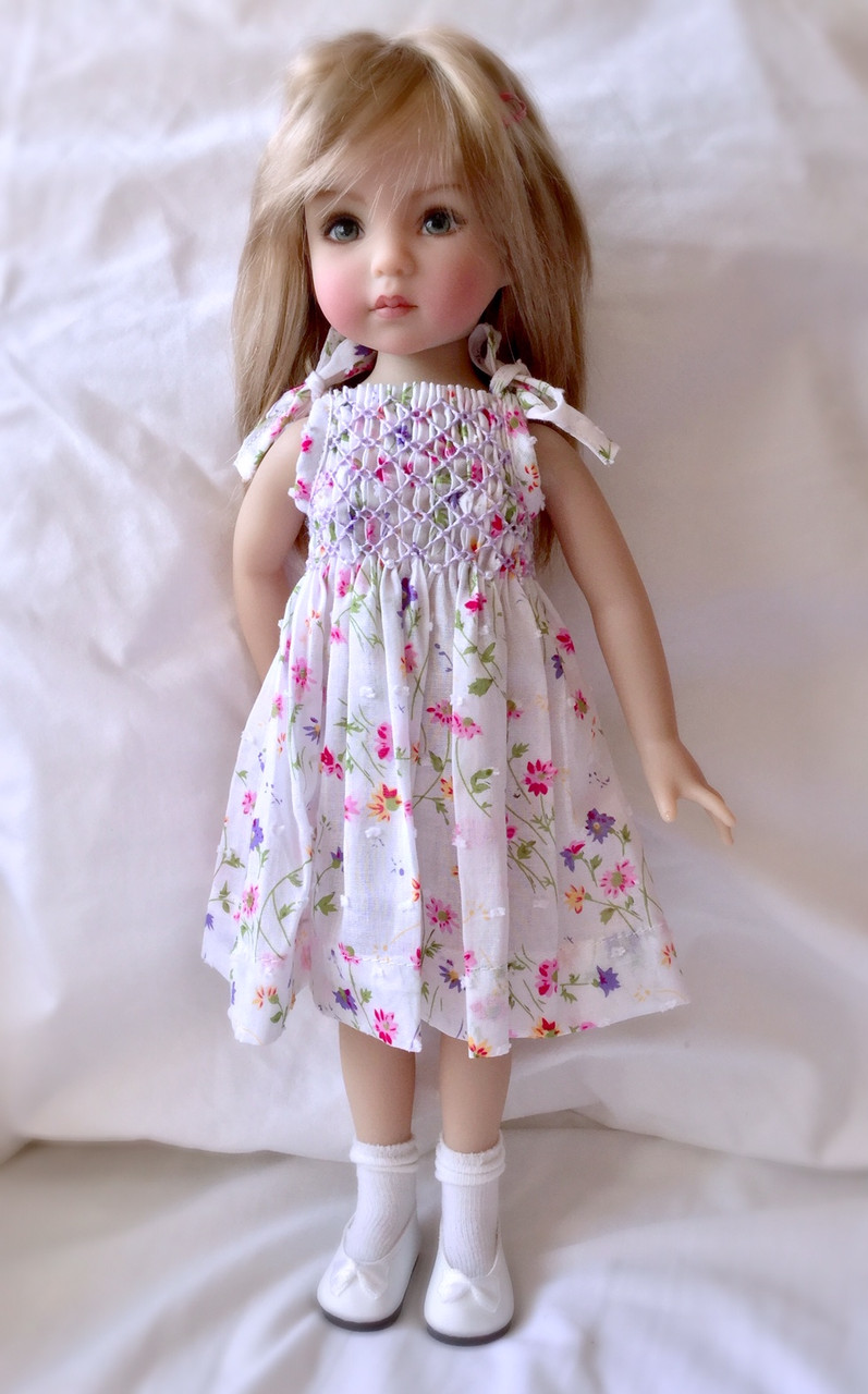 """Downloadable pattern for, Smocked sundress with tie straps for the, Little Darling and Les Cheries dolls, Suitable for a Dianna Effner 13"""" Little Darling doll Will also be available as kit"""