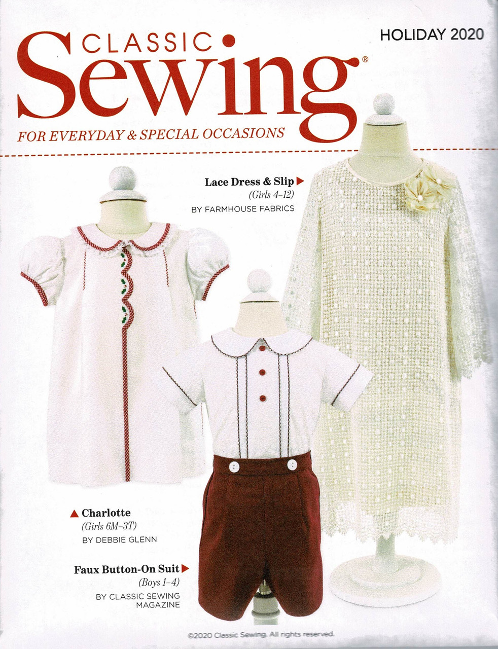 Patterns included in the Classic Sewing magazine holiday issue 2020